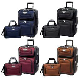 Amsterdam 2pc Carry-on Expandable Rolling Luggage Suitcase T