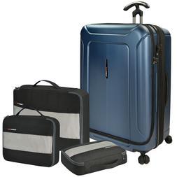 Barcelona 4pc Large Check Hardside Spinner Expandable Luggag