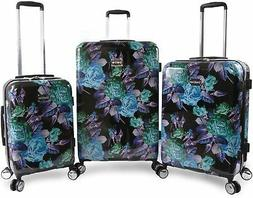 bebe rosette 3 piece hardside spinner luggage