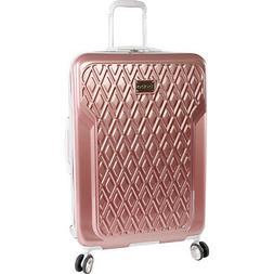 """Bebe Stella Rose Gold 29"""" Hardside Spinner Suitcase Pink Lug"""