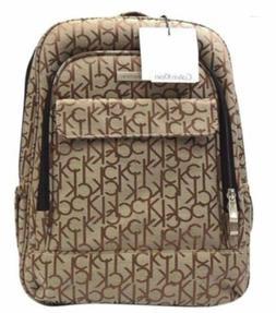 Calvin Klein Beige/Khaki Monogram School Backpack luggage w/