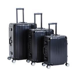 Black 3 Piece Luggage Set Spinner Trolley Case Travel Bag Su