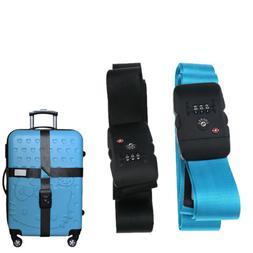 Black/ Blue Tsa Approved Lock Luggage Straps Suitcase Strap