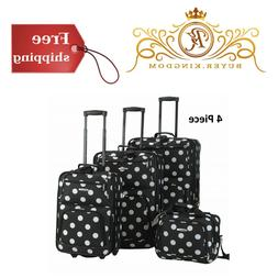"Black Dot Expandable 4pc Luggage Set 19"" 24"" 28"" Upright Wit"