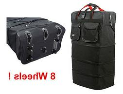 "36"" Black Rolling Expandable Duffle Bag Spinner Suitcase Lug"