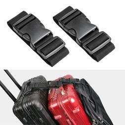 Black Short Travel Luggage Straps Easy Adjustable Suitcase B