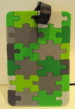 Travelon Brand Green Gray Black Puzzle Look Luggage ID Addre