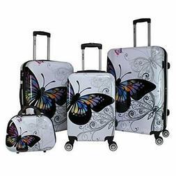 Butterfly 4-Piece Hardside TSA Lock Spinner Luggage Set