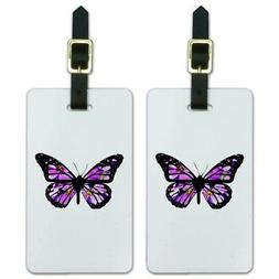 Butterfly with Flowers Luggage ID Tags Suitcase Carry-On Car
