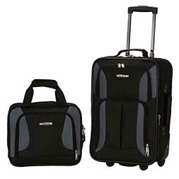 Carry On Travel Luggage Black/Gray Bag W Wheel Rolling Set 2