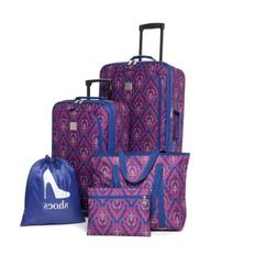 Christmas Gift New Directions 5 Piece Blue Berry Luggage Set