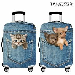 Cute Animal Puppy Kitten Jeans Travel Luggage Protection Sui