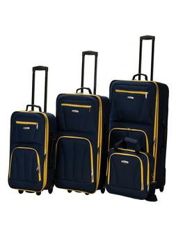 Rockland Deluxe Expandable 4-Piece Luggage Set - Purple