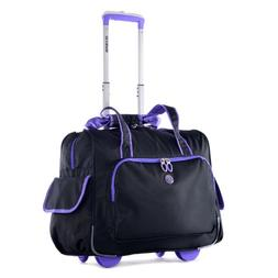 Olympia Deluxe Fashion Rolling Overnighter, Black/Blue, One