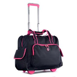 Olympia Deluxe Fashion Rolling Overnighter, Black/Pink, One