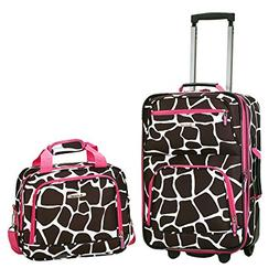 Rockland Expandable Pink Giraffe 2-piece Lightweight Carry-o