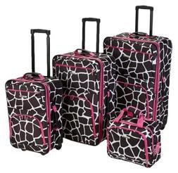 Rockland Expandable 4-Piece Luggage Set - Giraffe Pattern w/