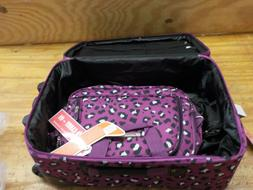 Rockland Fashion Softside Upright Luggage Set, Purple Leopar