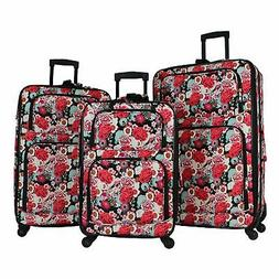 World Traveler Floral 3-piece Rolling Expandable Spinner Lug