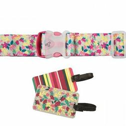 Travelon Floral Luggage ID Tags / Suitcase Strap Set