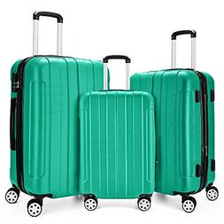 Fochier 3 Piece Expandable Spinner Luggage Set Hard Shell Li