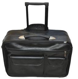 genuine leather rolling laptop briefcase bag samsonite