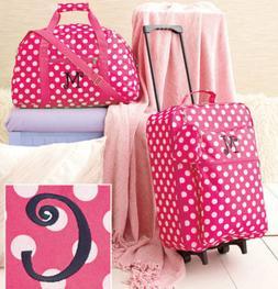 Girls Luggage Set Cloth Duffel Bag Rolling Suitcase Pink Tra