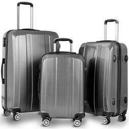 """GLOBALWAY 20"""" 24"""" 28"""" 3Pc Luggage Set ABS+PC Trolley Suitcas"""