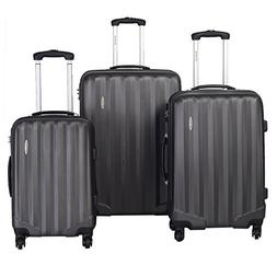 Goplus 3 Pcs Luggage Set ABS Hardshell Travel Bag Trolley Su