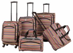 American Flyer Gold Coast 5 Piece Spinner Luggage Set Pink 9
