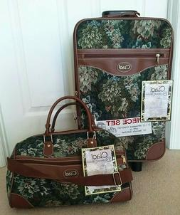 Ciao Green Birchwood Vintage Tapestry 2 Pcs Luggage Suitcase