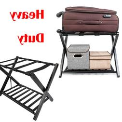 Heavy Duty Luggage Rack Folding Stand Shelf Suitcase Bag Sto