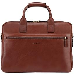 Banuce Italian Leather Tote Briefcase Business 15 inch Lapto