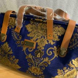 JM New York Blue And Gold Design Carpet Bag Features Galore
