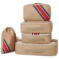 Aicehome Khaki Packing Cubes, 5 Sets Oxford Material Luggage