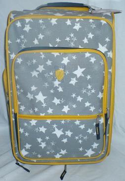 HEYS Kids Rolling Wheels Soft Luggage Stars Gray Yellow Whit
