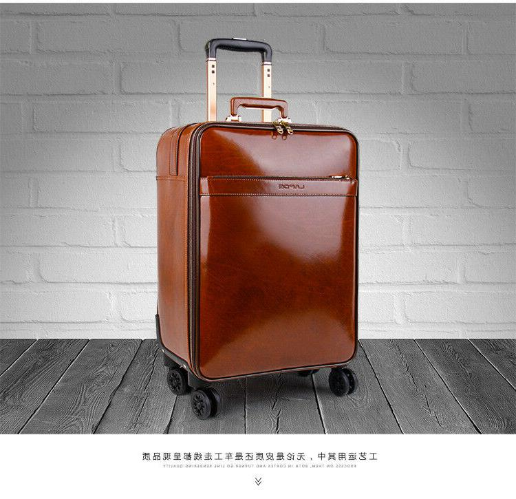 Leather Suitcase Retro Trolley