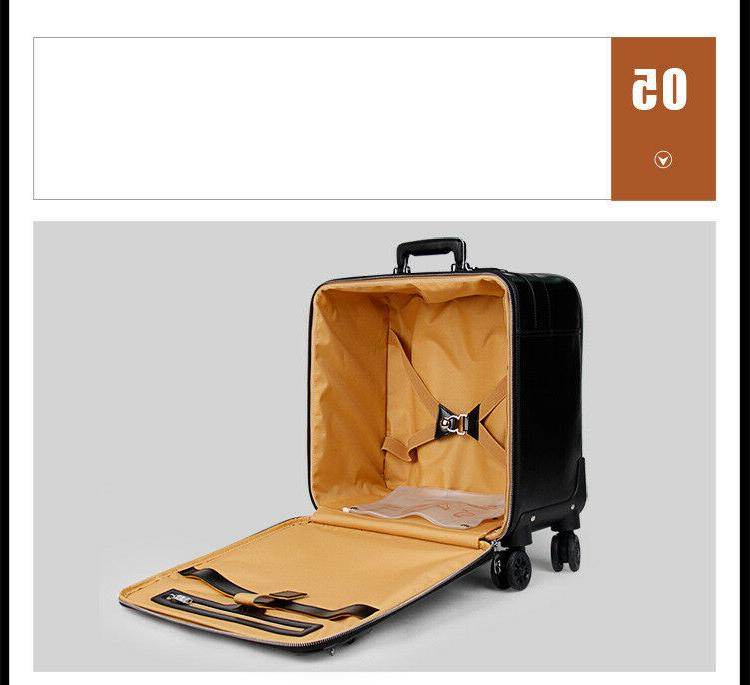 16 20 Leather Suitcase Retro Cabin Trolley Luggage