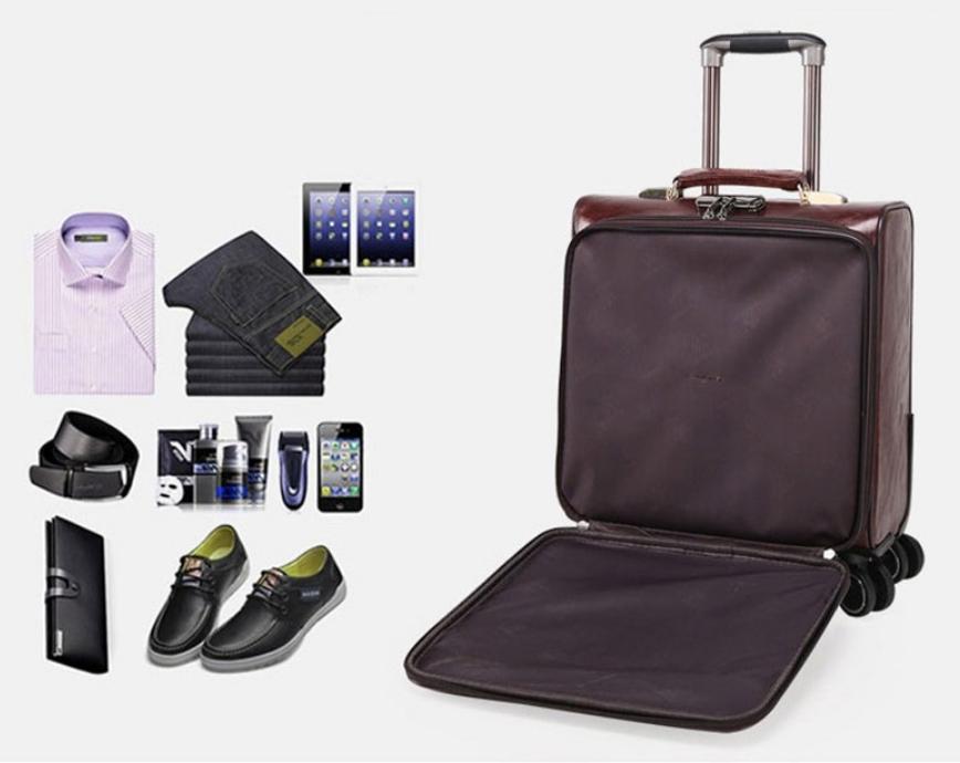 16 Inch Leather Suitcase Men Luggage With Wheels Elegant