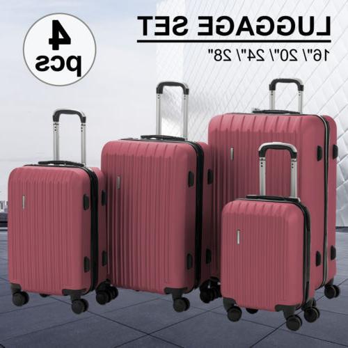 4pcs luggage travel set abs spinner bag