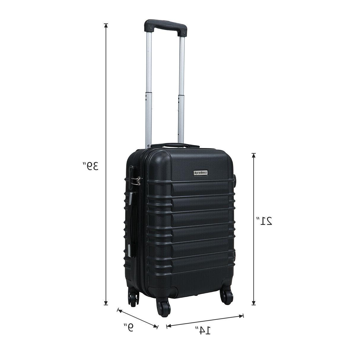 """20"""" ABS Carry On Luggage Travel Suitcase Lightweight w/Lock"""