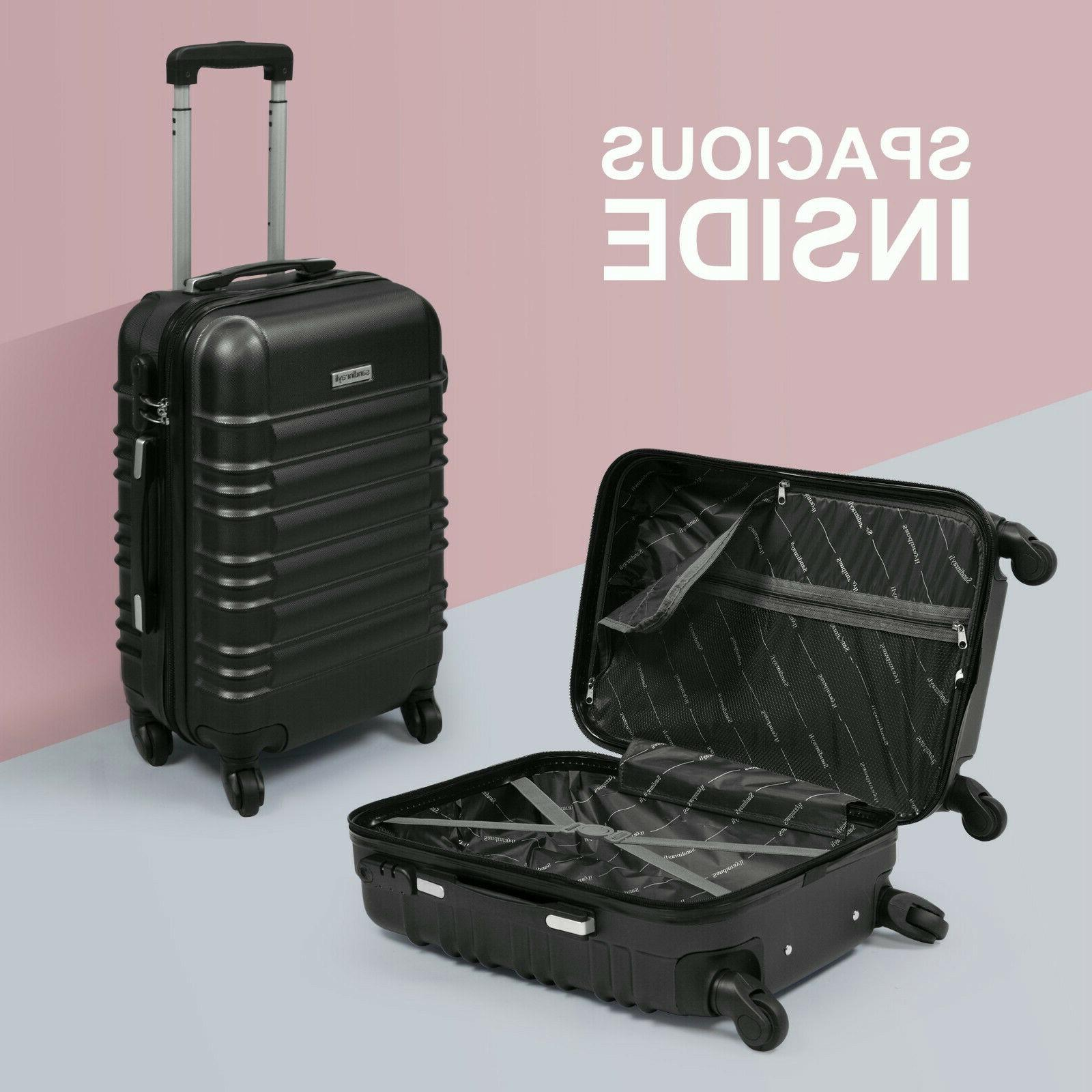 """20"""" ABS Luggage Travel Suitcase Black"""