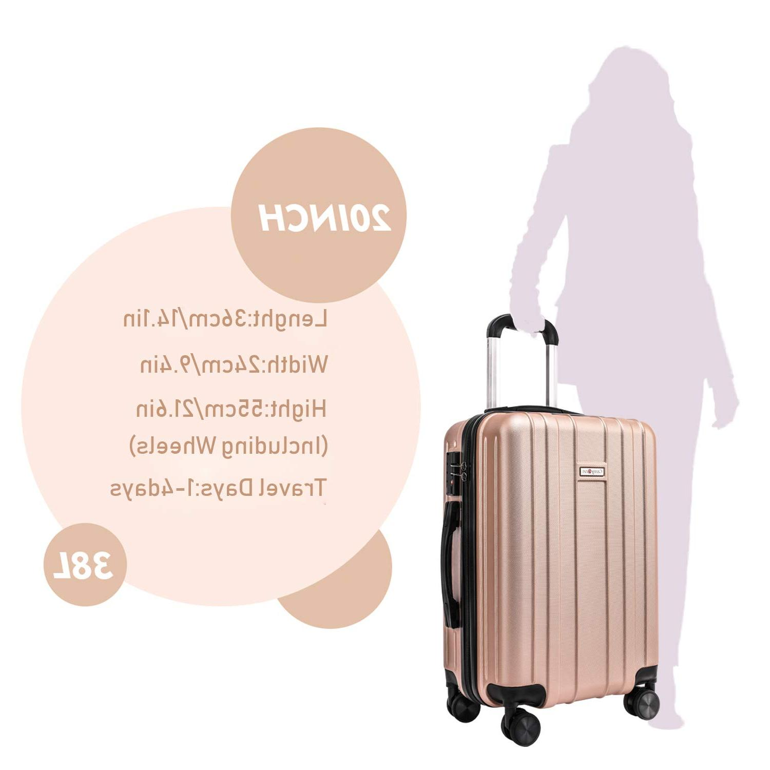 CarryOne 20in Carry on Luggage Suitcase, Built-in Lock, Spinner Wheels,