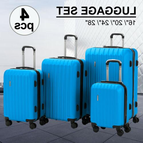 """3/4PCS Travel Set ABS Trolley Spinner Suitcase Luggage 16""""- 4OPTS"""