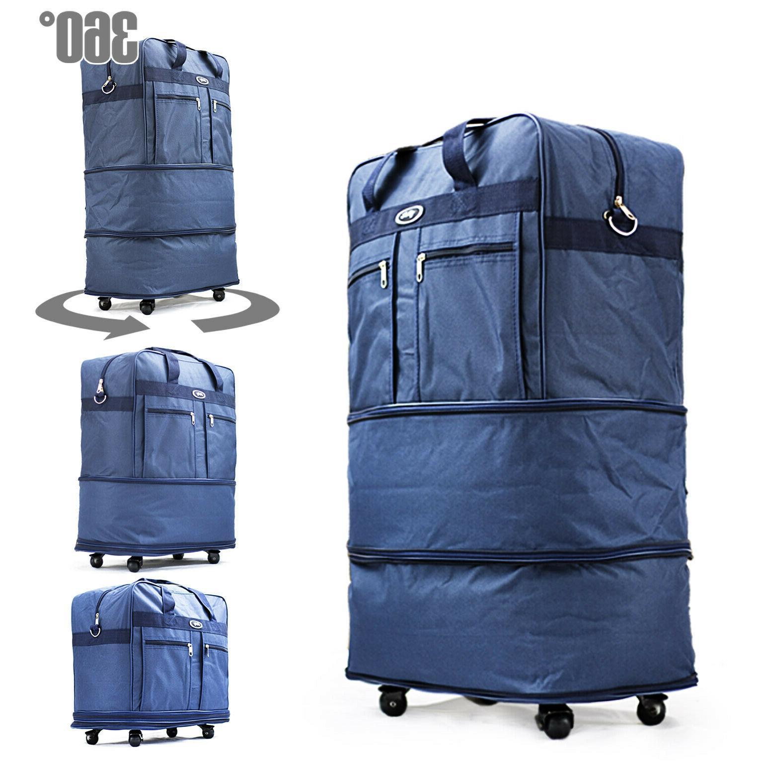 "30"" Blu Rolling Wheeled Duffle Duffel Bag Spinner Suitcase L"