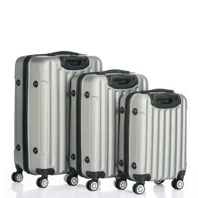 3pcs grey luggage travel set bag abs