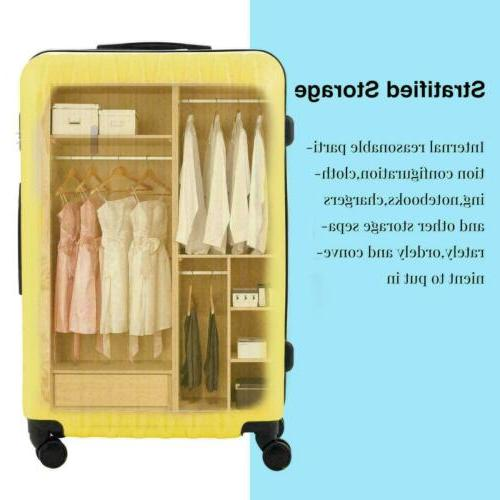 3Pcs Travel Bag ABS Trolley Suitcase with Lock 24
