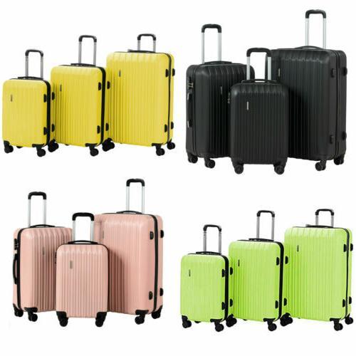 3pcs travel luggage set bag abs trolley