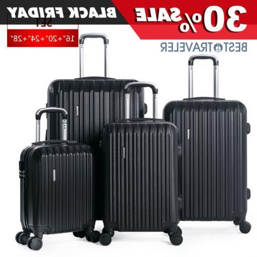 4 piece abs luggage set light travel