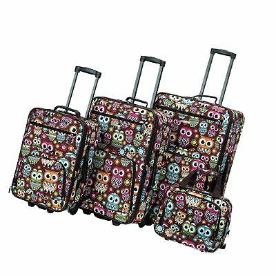4 piece luggage set owl one size